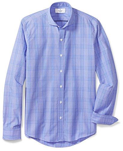 BUTTONED DOWN Men's Fitted Supima Cotton Cutaway-Collar Dress Casual Shirt, Blue Glen Plaid, L 32/33