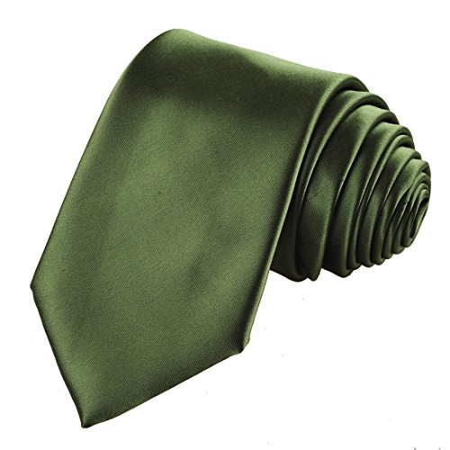 KissTies Olive Green Solid Satin Tie Necktie Wedding Ties + Gift Box (Tie Green Olive)
