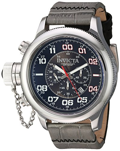 Invicta Men's Russian Diver Stainless Steel Quartz Watch with Leather Calfskin Strap, Two Tone, 26 (Model: 22287)