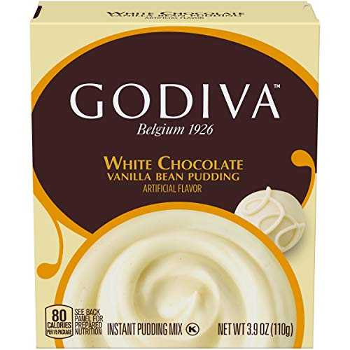 Godiva White Chocolate Vanilla Bean Instant Pudding Mix (3.9 oz Boxes, Pack of 14)