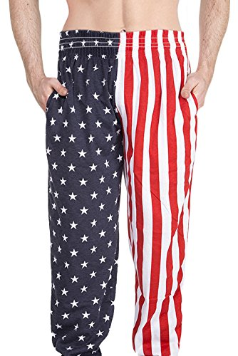 Arvilhill July 4th Mens Loose Sport Pajama Casual Joggers Workout Running Pants American Flag S