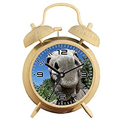 Table Alarm Clock with Backlight, Battery Operated Travel Clock, Round Twin Bell Loud Alarm Clock (Individual Pattern)217.Donkey, Snout, Nose, Close, Animal, Pet