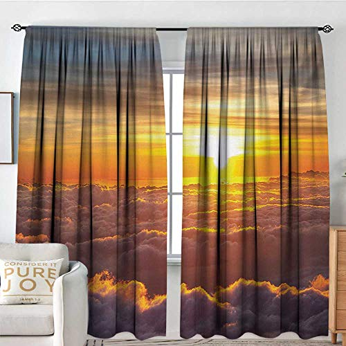 Blackout Thermal Insulated Window Curtain Valance Clouds,Sunset Scenery Over The Clouds Imaginary Secret Weather Lands Natural Wonders on Earth,Orange,Rod Pocket Valances -