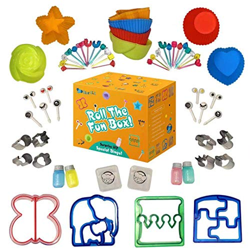 Sandwich Cutters for Kids | 65pc set of Bento Lunch Box Supplies and Accessories | Fun Healthy School Lunch Kit | Fruit and vegetable cookie cutters, picks, sandwich cutter shapes, and BONUS EBOOK