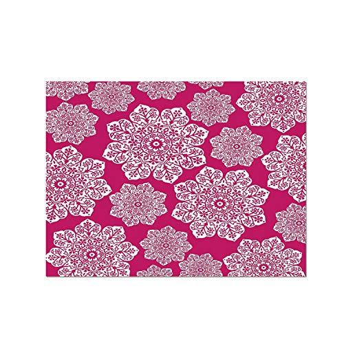 (C COABALLA Hot Pink Heat Resistant Table Mat,White Floral Design Ornate Mandala Inspired Round Motifs Traditional Pattern for Dining,15.7