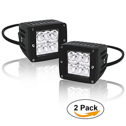 Offroad Fog Lights 3X3 Inch 18W Led Flood Pods Cube Auxillary Reverse Backup Lights On Rack Bumper Grill Windshield For Tundra Wrangler Ranger Polaris Rubicon Lj F150 Silverado Truck Sportsman Tractor (Reverse Hood)