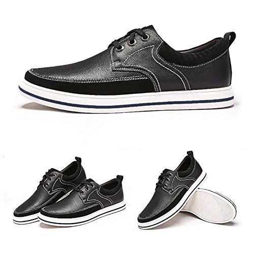 con Mocasines UK 5 Negro Color Cuero US Cordones Ocasionales 6 tamaño 9 8 Redonda Cabeza 5 Zapatos Hombres HhGold cómodos Negro 7 US UK de Hombres Color Tamaño para Negro para de 8qC1nw