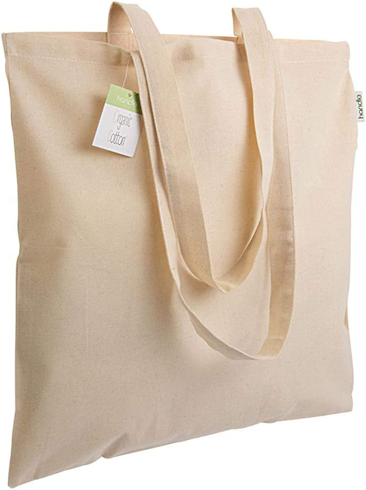 Generico Shopper de algodón orgánico 140 g/m2, Asas largas 38 x 42 ...