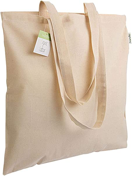 Generico Shopper de algodón orgánico 140 g/m2, Asas largas 38 x 42 cm: Amazon.es: Hogar
