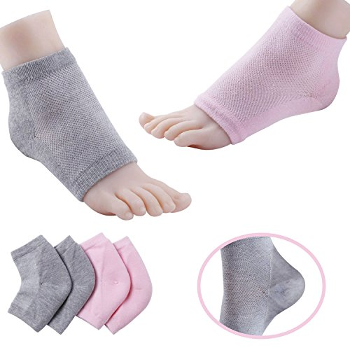 (Shovan Vented Gel Heel Socks Feet Care Moisturizing Treatment Sleeves for Dry Hard Cracked Heels)