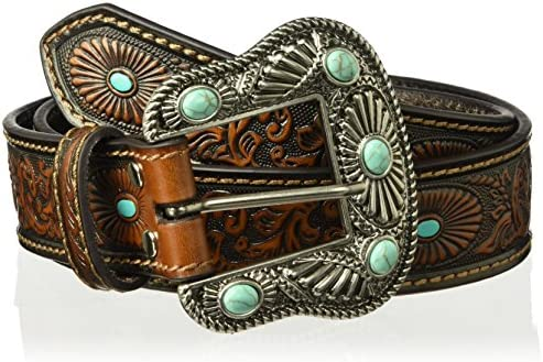Nocona Belt Co. Women`s Scroll Embossed Painted Turquoise Oval Belt brown