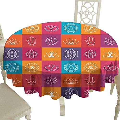 Cranekey Party Round Tablecloth 70 Inch Yoga,Colorful Collection of Yoga Icons and Relaxation Symbols Wellness Harmony Health Zen,Multicolor Great for Buffet Table,Parties,Holiday Dinner & More