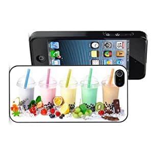 Apple iPhone 4 4S 4G Black 4B573 Hard Back Case Cover Colorful Fruit Smoothie Boba Drinks