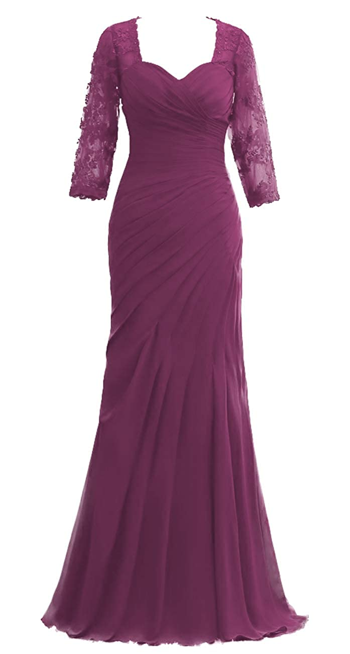 Grape JAEDEN Mother of The Bride Dresses Long Sleeves Evening Gowns for Women Formal