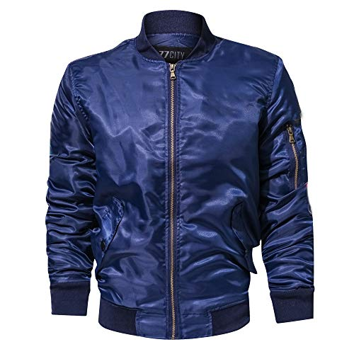(Mens Casual Autumn Winter Pure Color Stand Collar Military Bomber Jacket Coat Blue)
