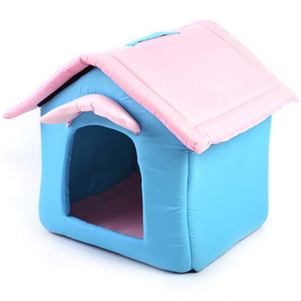 Wuwenw Letto per Animali Domestici Nuovo Simpatico Tendone Canile Morbido Nido Caldo rosa Blu Piccolo Nido Fresco per Animali Domestici
