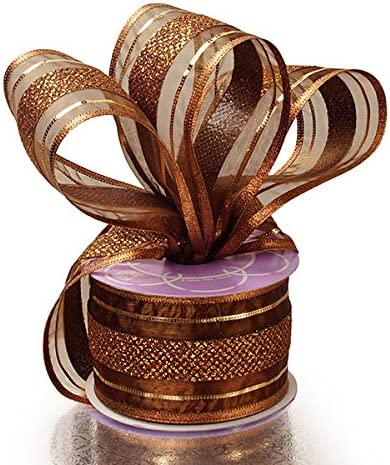 1.5 Wired Ribbon BOW Making Metallic Gold Wired Edge BROWN /& GOLD Canvas Ribbon