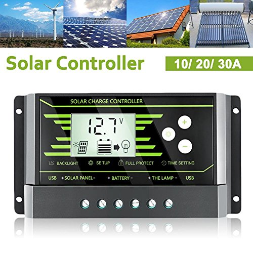 US-PopTrading Solar Charge Controller,Solar Panel Charge Controller Backlight LCD Display with Dual USB 5V Z Series 10A 20A 30A Solar Energy Auto Paremeter Adjustable -