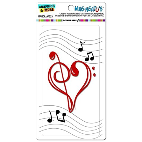Graphics and More Music Heart Love Treble Bass Clef Notes Staff White Mag-Neato's Automotive Car Refrigerator Locker Vinyl (Cabinet For Sheet Music)