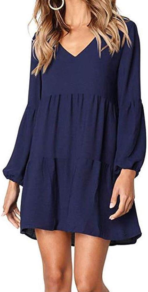 Homecoming Girl Malbaba V Neck Flare Flowy Loose Casual Beach Short Dress Latern Sleeve Mini Dress
