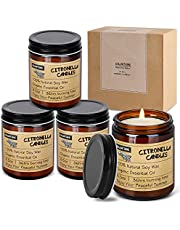 KWANITHINK Citronella Candles Outdoor for 144 Hours, Natural Soy Wax Candle, 4X8.5 Oz Large Citronella Scented Candles for Home Patio Travel Housewarming Gift Set