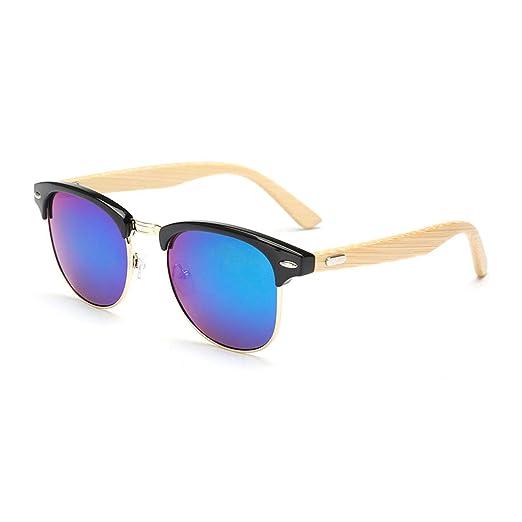 Amazon.com: Half frame Sun glasses wooden bamboo legs ...