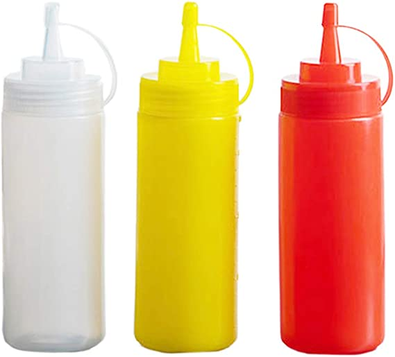 12 Oz Clear Plastic Squeeze Bottle 3pk Condiment Dispenser Ketchup Mustard Sauce