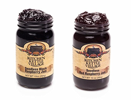 Seedless Black Raspberry and Red Raspberry Jam, Kitchen Kettle Village (Amish Made) Raspberry Preserves, 10 Ounce Jars [1 of Each]