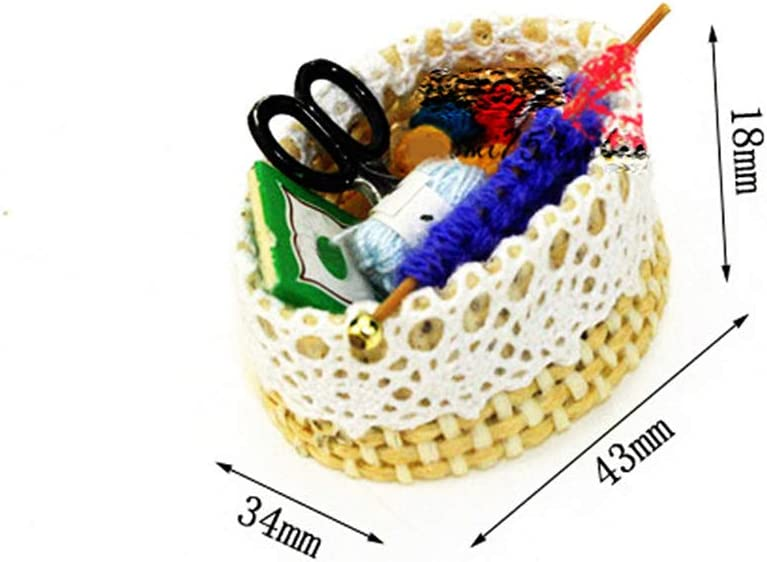 geshiglobal Dollhouse Accessory Lovely Mini Sewing knitting Basket Kit Kids Play Toy Miniature Ornament