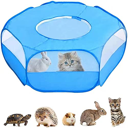 Kaduocom Portable Small Animal Playpen, Guinea Pig Cage, Outdoor/Indoor Exercise Tent House for Rabbits/Hamster/Puppy(Bule with Cover)