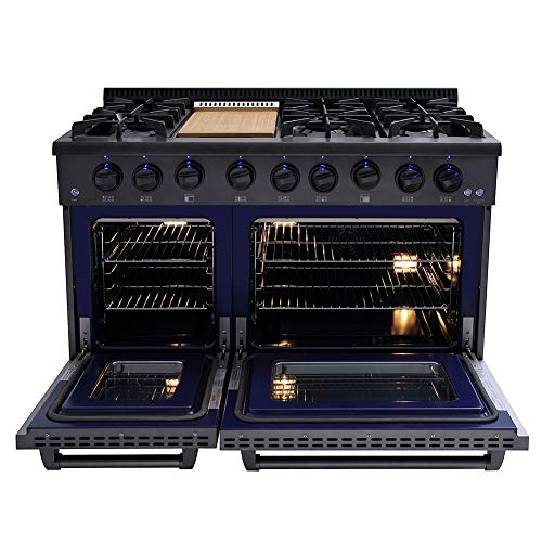 Thor Kitchen 48 Inch Gas Range 6 Burners Cooktop 6.7 cu.ft Oven Black Steel – HRG4808-BS