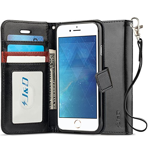 J&D Case Compatible for iPhone 8 Case, iPhone 7 Case, [RFID Blocking Wallet] [Slim Fit] Heavy Duty Protective Shock Resistant Flip Cover Wallet Case for Apple iPhone 8/iPhone 7 Wallet Case - Black