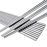 LIUNA Luxury Square Stainless Steel Chopsticks . Non-slip Metal Household Chopsticks 8 Pair / Lot