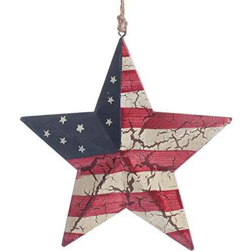 Antique Look Crackle Finish Dimensional Americana Barn Star Ornament on Jute Hanger- Package of ()