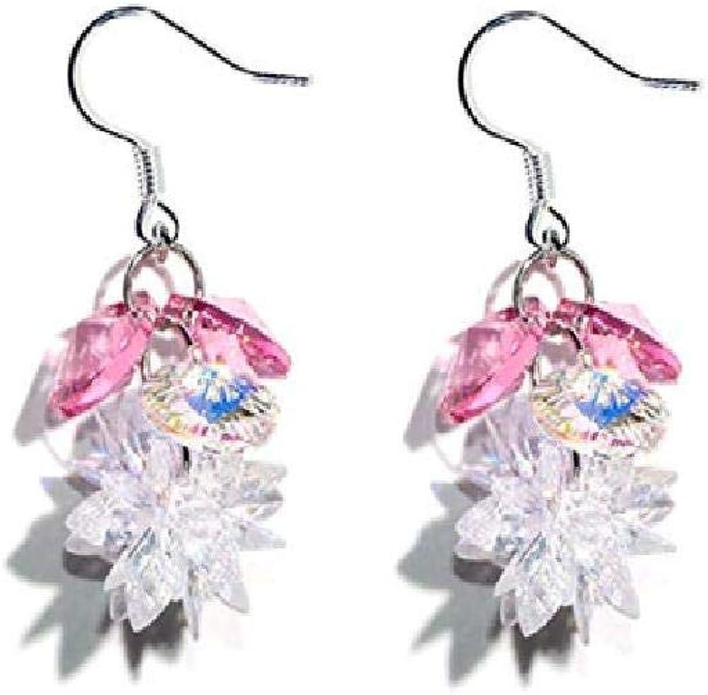 La Sra.Pendientes Exquisita Moda Cristal Zircon 925 Blanco Hongo Gancho 3.5Cm