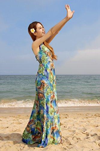 Largo De 3 Wanyang Nocturna Mangas Impresión Floral Talla Ropa Playa Fiesta Vestir Mujer Nuevo Vestido Grande qwSSzxZpI