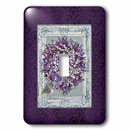 Scalloped Clock (3dRose Beverly Turner Christmas Design - Wreath with Candle and a Partridge on Elegant Frame, Purple Scalloped - Light Switch Covers - single toggle switch (lsp_267965_1))
