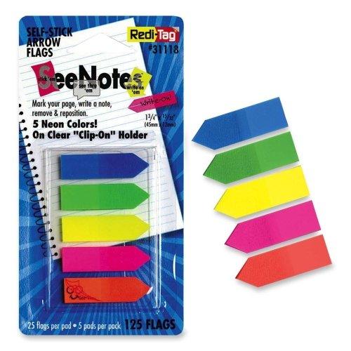Redi-Tag See-Through Arrow Flag - Removable, Self-adhesive - 0.46