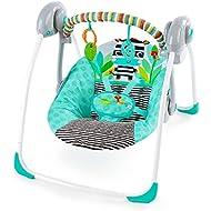 Bright Starts Zig Zag Zebra Portable Swing with Whisperquiet Technology