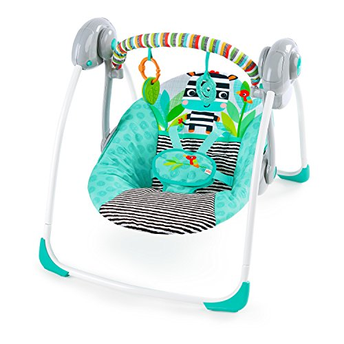 Bright Starts Zig Zag Zebra Portable Swing with WhisperQuiet Technology ()
