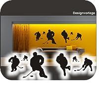 6 Eishockeyspieler I Eishockey I Puck I Wandtattoo !! bei jeder Größe...