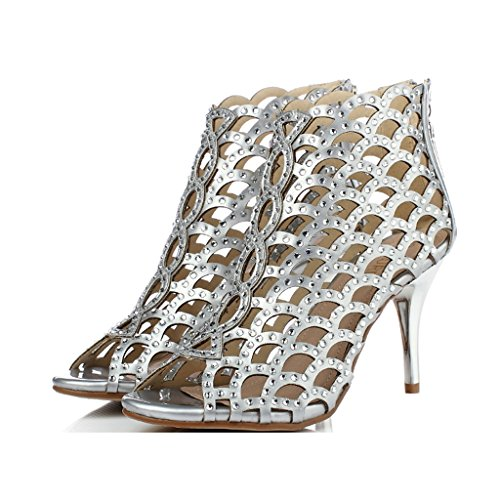 Couleur Femmes Femmes Sexy 6cm Height Height 8cm UK5 Argent Hollow US6 Sandales Hauts Talons 235mm à Taille Sandales Party 37 1wntqAv1H