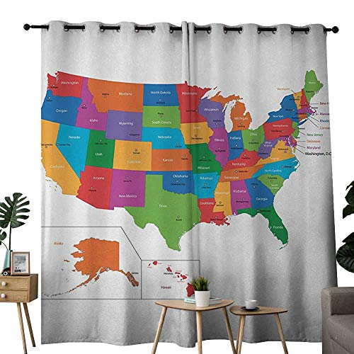 NUOMANAN Blackout Curtains for Bedroom Wanderlust,Colorful USA Map