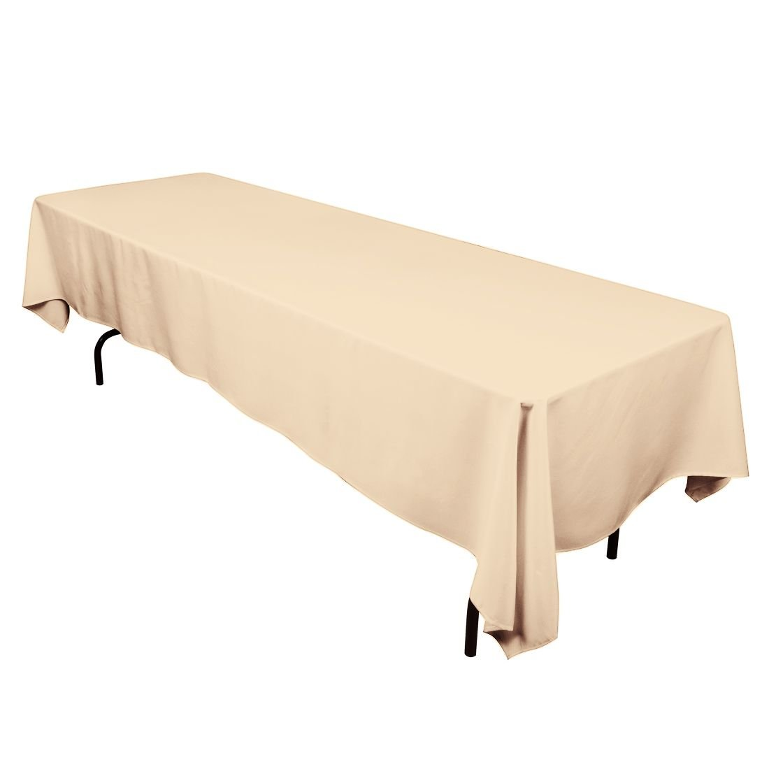 LinenTablecloth 60 x 126-Inch Rectangular Polyester Tablecloth Beige