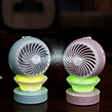 AccMart Desk USB Fan,MINI Table Fan,Table Desktop Personal Mini Water Spray Fan With Personal Cooling Humidifier and Light(Quiet Run, 2 Speeds,360 Degrees Rotation)-Green