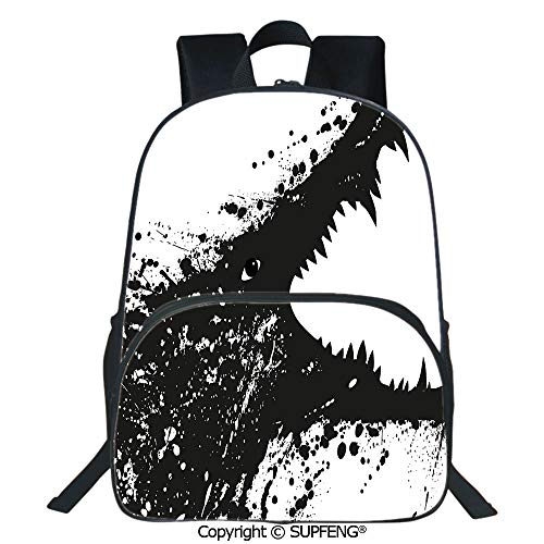 Crocodile Leather Pencil Cup - Laptop Backpack Black and White Crocodile Image with Grunge Drawing Style Attacking River Warrior Decorative (15.75