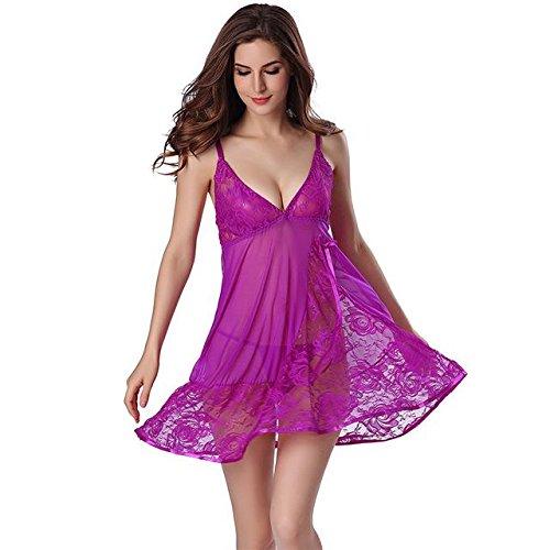 a3a3caf7dee9 nightgown night gown sleep dresses women sleeping dress and string set deep  v sleepwear lingerie nightwear purple XL  Amazon.in  Clothing   Accessories