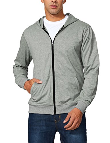 Baleaf Men's Lightweight French Terry Zip Hoodie Sweatshirts Light Heather Gray Size (Medium Zip Hoodie Sweatshirt)