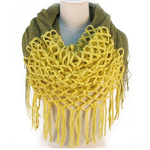NSSTAR Women Winter Warm Crochet Knit Long Tassels Soft Wrap Shawl Scarves Scarf Two Styles Infinity and Straight (Yellow)