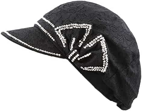 f6a130d49e4 The Hat Depot 200H4199 Womens Cool Flower Mesh Pattern Shiny Studded  Applejack Hat